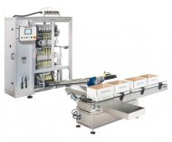 Многодорожечный вертикальный упаковочный автомат модели «ОМАГ СS» для фасовки жидких продуктов в «СТИК-пакет»